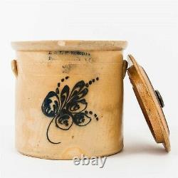 Antique L. P. Norton Stoneware Crock with Lid 2 Gallon Flower Design Bennington VT