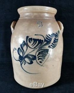 Antique Large Mid 1800s Stoneware Crock 2 Gal Hand Painted Blue Leaf Motif FINE