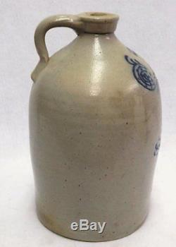 Antique Large Potterville Massachusetts Stoneware Jug 19th cent
