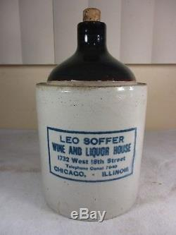 Antique Leo Soffer Wine & Liquor Stoneware Crock Jug CHICAGO Advertising 1920's