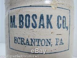 Antique M BOSAK Co SCRANTON Pa Stoneware Jug early 1900s small whiskey crock jug