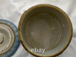 Antique McCoy Blue & White Salt Glaze Stoneware Swastika Butter Crock