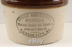 Antique Minnesota Stoneware Red Wing Stulz Brothers Kansas City Crock Wine Jug