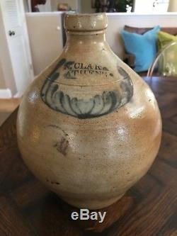 Antique N. CLARKE Athens NY Stoneware JUG crock