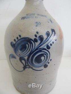 Antique New York Stoneware Cobalt Blue Flower 2 Gallon Jug Crock Salt Glazed