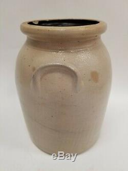 Antique Norton Stoneware Double Plume Tornado 1.5 Gallon Crock Jar Worcester MA