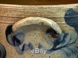Antique PA Stoneware Cake Crock Attr. Remmey Cobalt Blue Tulips