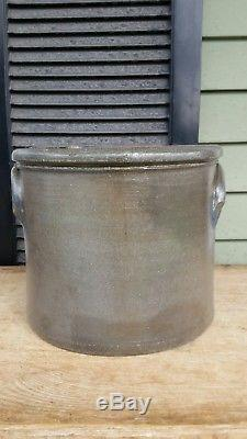 Antique PA decorated stoneware butter or cake crock Greensboro 2 gal