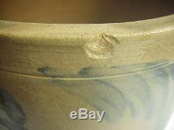 Antique PENNSYLVANIA STONEWARE Butter CROCK with ORIGINAL TOP and BLUE DECORATION