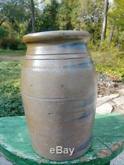 Antique Pennsylvania 5 Stripe Stoneware Crock