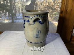 Antique Pennsylvania Decorated Blue & Grey Stoneware Crock