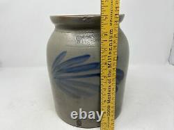 Antique Pennsylvania Stoneware Crock -Cowden Wilcox- Cobalt Blue Floral Design