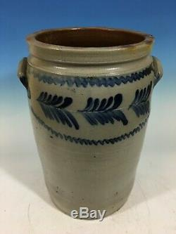 Antique Pennsylvania or Maryland 5 gallon stoneware crock, 19th century. 16 1/4