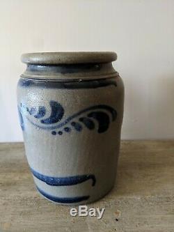 Antique Philadelphia Stoneware Jar, Crock, Cobalt flowers, Vines Salt Glazed
