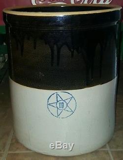 Antique Primitive 10 Gallon Cobalt Star Stoneware Glazed Crock