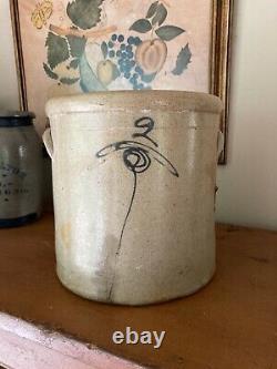 Antique Primitive 2 Gallon Cobalt Bee Sting Salt Glaze Stoneware Crock Farmhouse