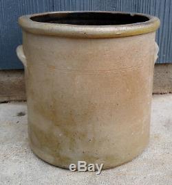 Antique Primitive 2 Gallon Salt Glaze Stoneware Crock