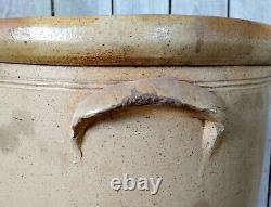Antique Primitive 4 Gallon Salt Glaze Stoneware Crock, Cobalt Target Bee Sting