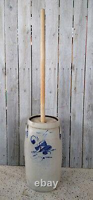 Antique Primitive 4 Gallon Stoneware Butter Churn with Salt Glaze, Cobalt Flower