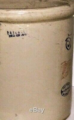 Antique Primitive 5 Gallon Red Wing Union Stoneware Crock With Handles1918 PAT