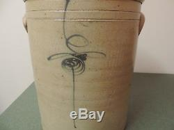 Antique Primitive Bee Sting Design Blue 6 Gallon Stoneware Crock with Lid