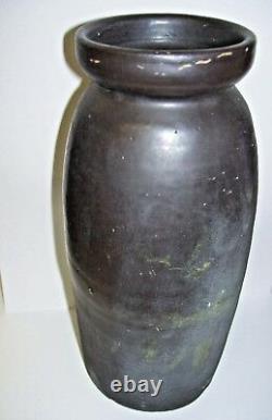 Antique Primitive Black Stoneware Crock Jar Quart Size Dated