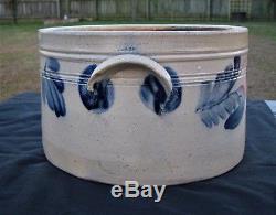 Antique Primitive Cobalt Blue Decorated Stoneware Cake Crock/jug With Lid-remmey