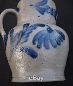 Antique Primitive Cobalt Blue Decorated Stoneware Crock/jug/pitcher-mid Atlantic