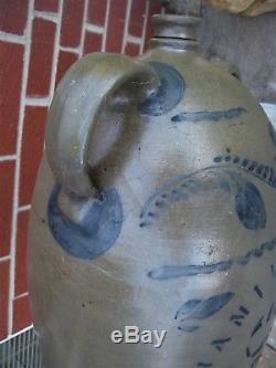 Antique Primitive Cobalt Blue Decorated Stoneware Jug/crock-hamilton & Jones-4gl
