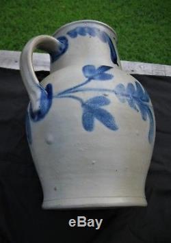 Antique Primitive Cobalt Blue Decorated Stoneware Jug/pitcher/crock-super 2gl