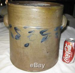 Antique Primitive Country USA Blue Colbalt Flower Art Salt Glaze Stoneware Crock