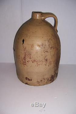 Antique Primitive Grungy Stoneware Crock Jug 15 1/8 Tall X 10 3/8 Diameter