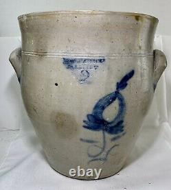 Antique Primitive Salt Glazed Stoneware 2 gal Crock