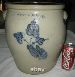 Antique Primitive Sign 3 Gal Country USA Blue Colbalt Flower Art Stoneware Crock