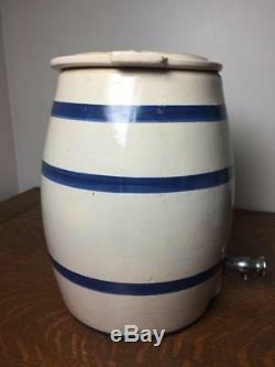 Antique ROBINSON RANSBOTTOM 2 Gallon Stoneware Water Cooler with Lid Spout Vintage