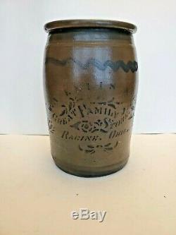 Antique Racine Ohio Stoneware Crock Jar