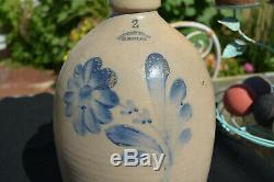 Antique Rare EW Farrington 2 Gal Stoneware Jug in blue Floral Slip NY C 1890
