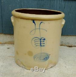 Antique Red Wing 4 Gallon Salt Glaze Cobalt Double P Ribcage Stoneware Crock