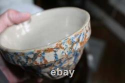 Antique Red Wing Sponge Ware Crock Bowl #5 Stoneware Rustic Farmhouse