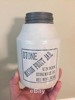 Antique Red Wing Stone Mason Fruit Jar Union Stoneware Advertising Jug Crock