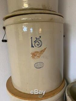 Antique Red Wing Stoneware Crock 15 Gallon Pat. 1915 with lid