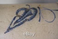 Antique Red Wing Stoneware Salt Glaze 5 Gallon Crock Large Cobalt Blue Leaf