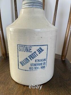 Antique Red Wing Union Stoneware Crock Mason Fruit Canning Jar. 1 Gallon