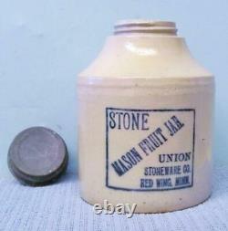 Antique Red Wing Union Stoneware Mason Fruit Jar 1/2 Gallon Blue Letters Crock