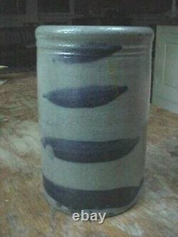 Antique STRIPER Canner Crock Jar Western PA 4 Cobalt Striped Stoneware Rare