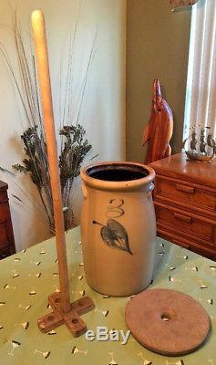 Antique Salt Glaze 3 Gal Stoneware Cobalt Blue Leaf Butter Churn Crock