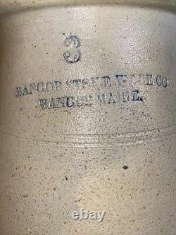 Antique Salt Glaze Butter Churn Crock BANGOR STONEWARE CO Bangor Maine 3 Gal