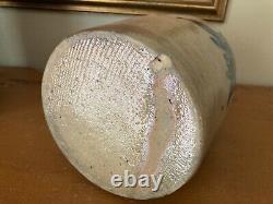 Antique Salt Glaze Pennsylvania Stoneware Jar/Crock Four Cobalt Blue Sprigs 8.5