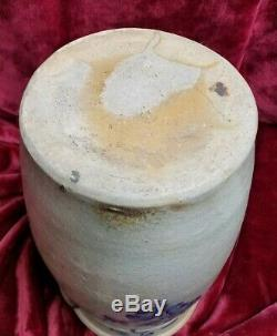 Antique Salt-Glazed Blue & White Stoneware butter churn