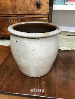 Antique Salt Glazed Stoneware Creamer Jar (Crock) With Cobalt Blue Flower